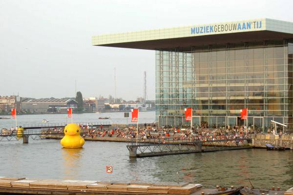 Floating Duck in Amsterdam by Florentijn Hofman